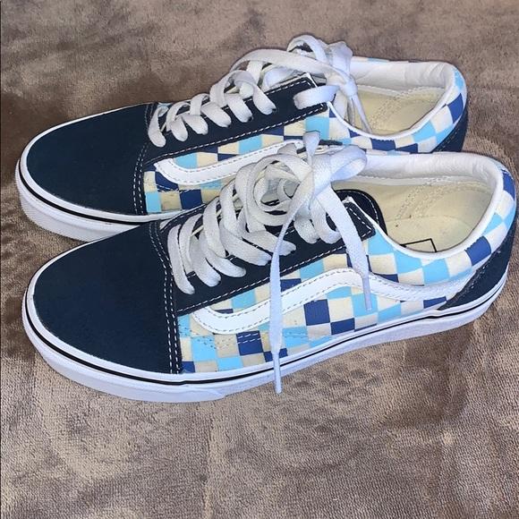 Vans Shoes | Navy Blue Checkered Vans
